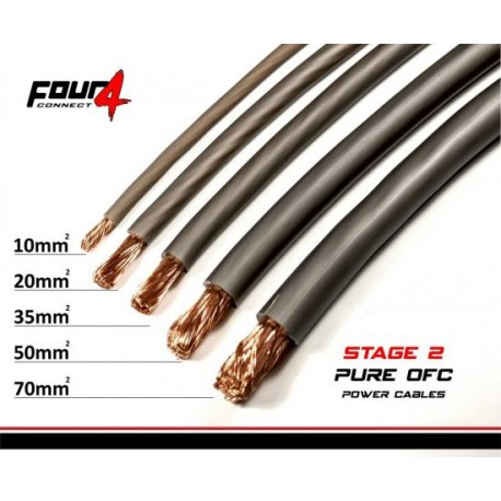 Захранващ кабел 10мм2 сив OFC 4Connect PC10GS